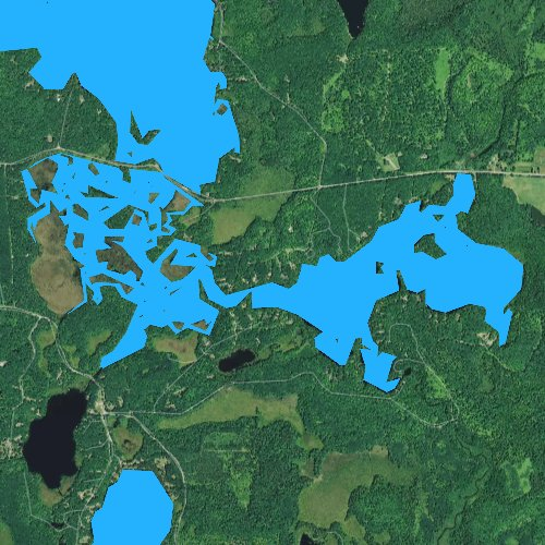 Fly fishing map for Tiger Cat Flowage, Wisconsin