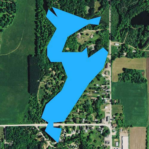 Fly fishing map for Tilleda Pond 53, Wisconsin