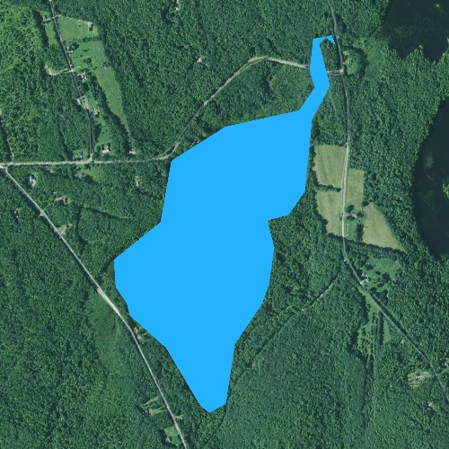 Fly fishing map for Tilton Pond, Maine