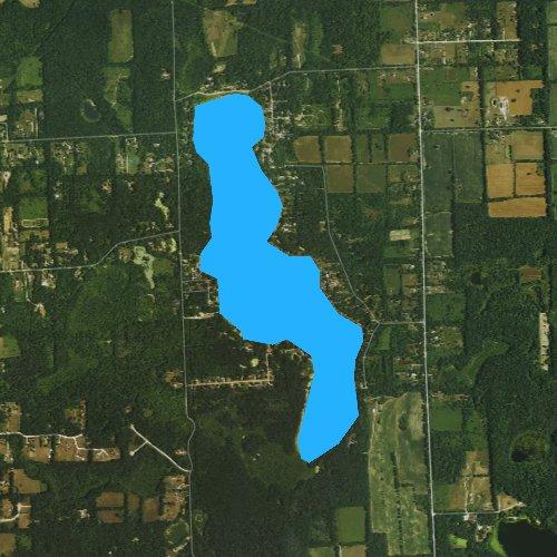 Fly fishing map for Tipsico Lake, Michigan