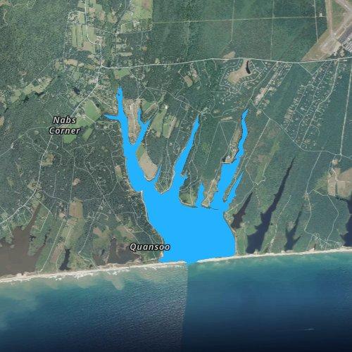 Fly fishing map for Tisbury Great Pond, Massachusetts