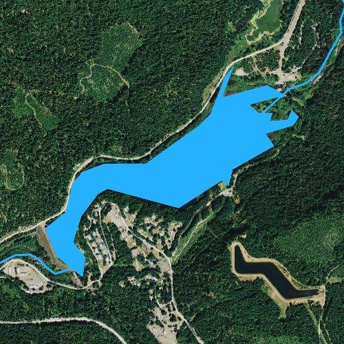 Fly fishing map for Toketee Lake, Oregon