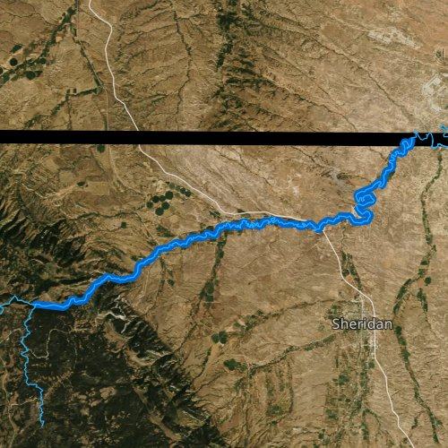 Fly fishing map for Tongue River, Wyoming