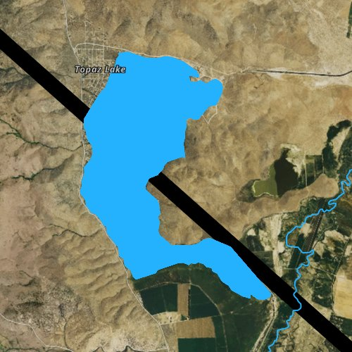 Fly fishing map for Topaz Lake, Nevada