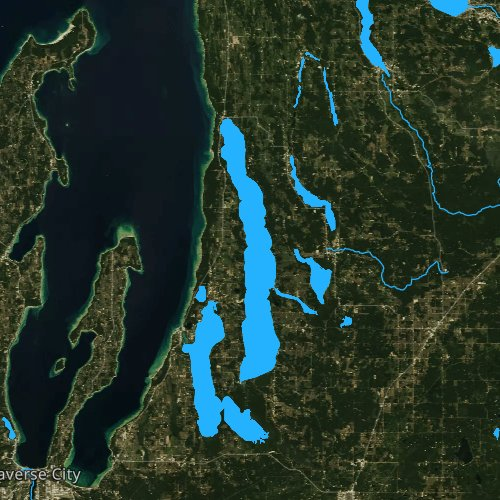Fly fishing map for Torch Lake, Michigan
