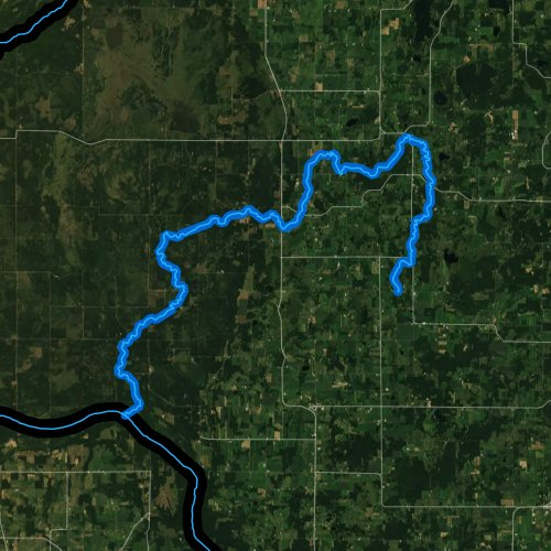 Fly fishing map for Trade River, Wisconsin