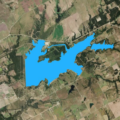 Fly fishing map for Tradinghouse Creek Reservoir, Texas
