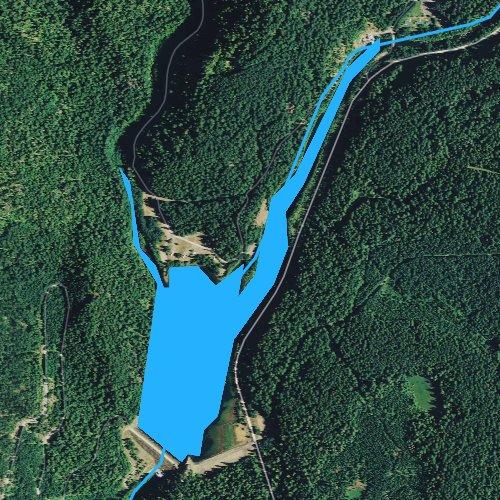 Fly fishing map for Trail Bridge Reservoir, Oregon