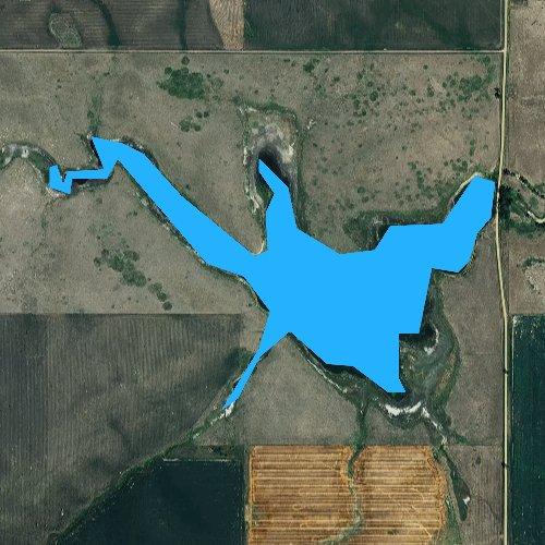 Fly fishing map for Trail City Railroad Lake, South Dakota