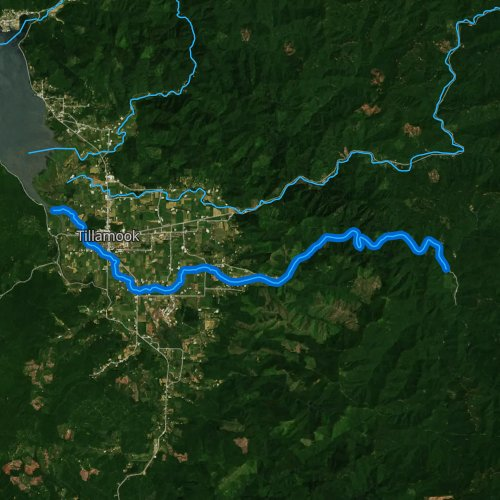 Fly fishing map for Trask River, Oregon