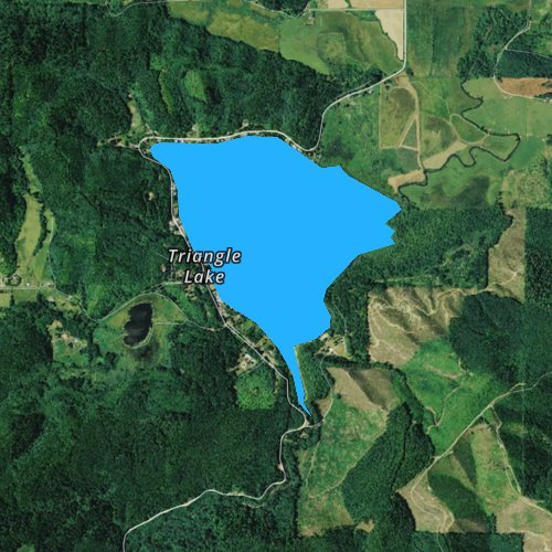 Fly fishing map for Triangle Lake, Oregon