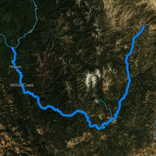 Fly fishing map for Trinity River, California