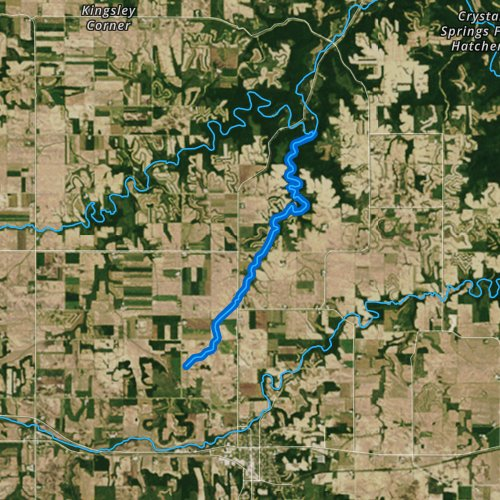 Fly fishing map for Trout Run, Minnesota