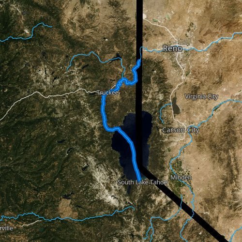 Fly fishing map for Truckee River, California