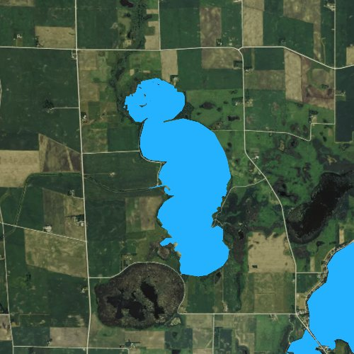 Fly fishing map for Trumbull Lake, Iowa