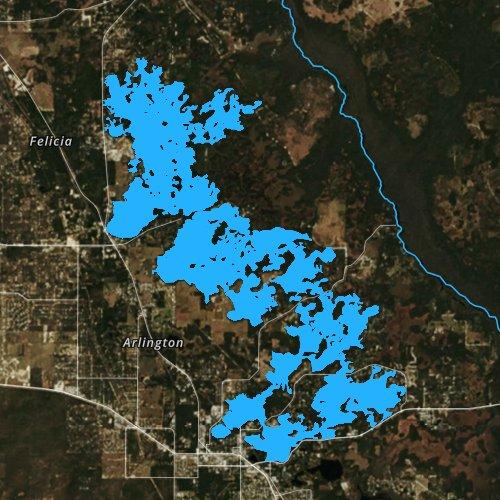 Fly fishing map for Tsala Apopka Lake, Florida