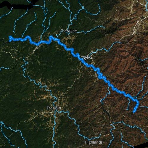 Fly fishing map for Tuckasegee River, North Carolina