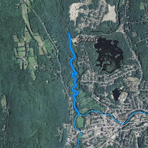 Fly fishing map for Tully River, Massachusetts