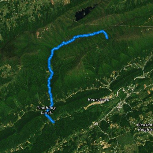 Fly fishing map for Tumbling Creek, Virginia