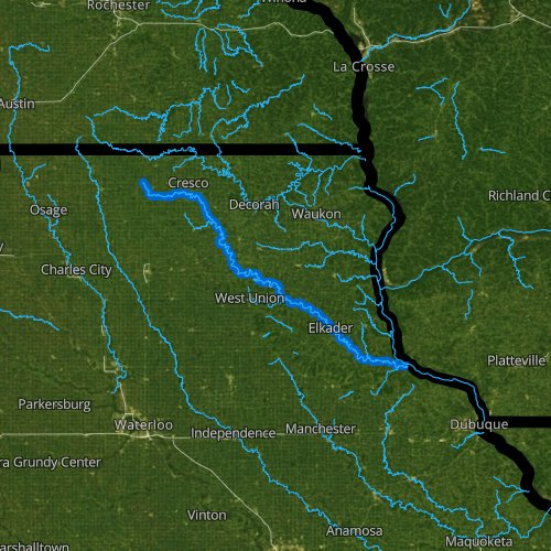 Fly fishing map for Turkey River, Iowa