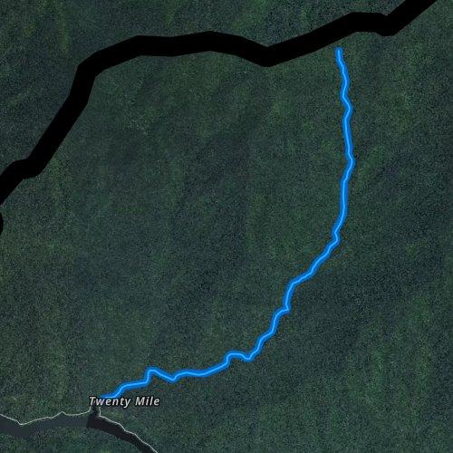 Fly fishing map for Twentymile Creek, North Carolina