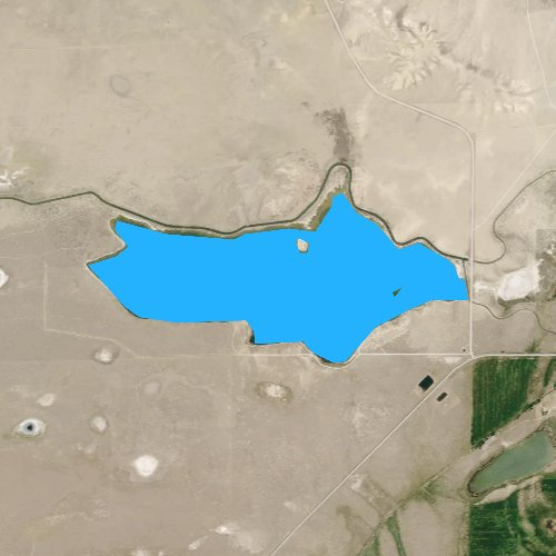 Fly fishing map for Twin Buttes Lake, Wyoming