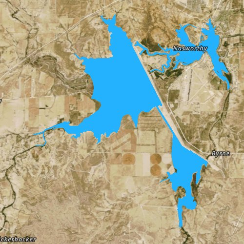 Fly fishing map for Twin Buttes Reservoir, Texas