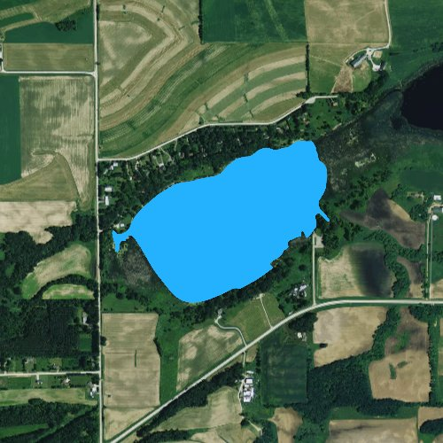 Fly fishing map for Twin Lakes: Green Lake, Wisconsin