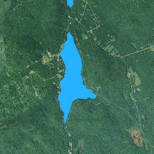 Fly fishing map for Twitchell Pond, Maine