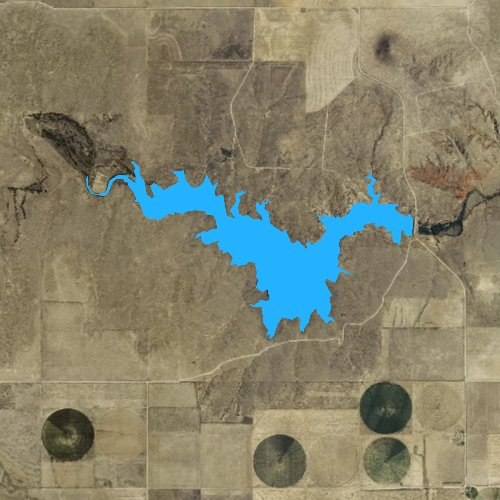Fly fishing map for Two Buttes Reservoir, Colorado