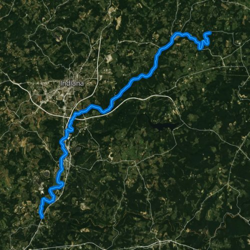 Fly fishing map for Two Lick Creek, Pennsylvania