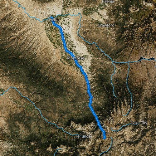 Fly fishing map for Uncompahgre River, Colorado