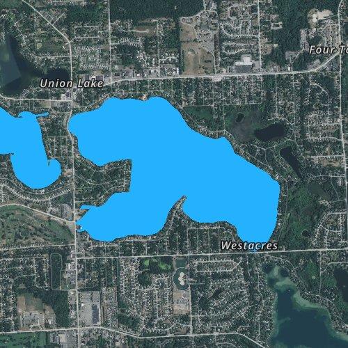 Fly fishing map for Union Lake: Oakland, Michigan