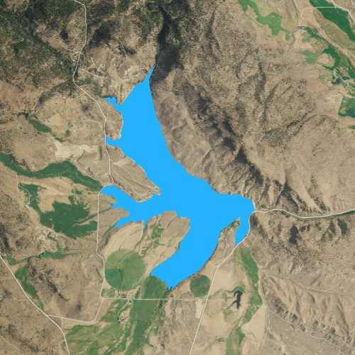 Fly fishing map for Unity Reservoir, Oregon