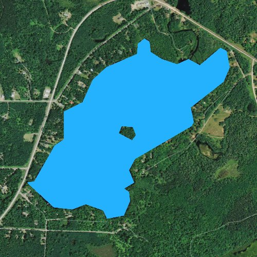 Fly fishing map for Upper Clam Lake, Wisconsin