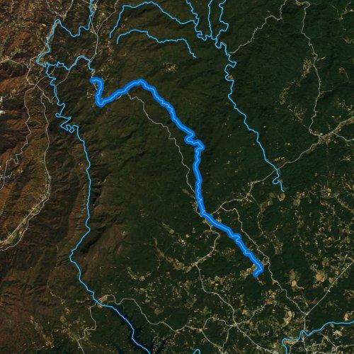 Fly fishing map for Upper Creek, North Carolina