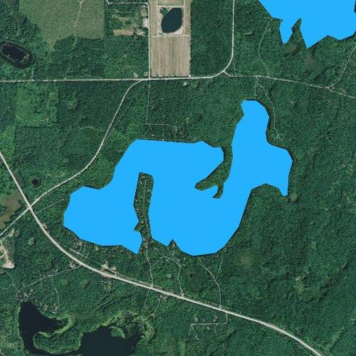 Fly fishing map for Upper Gresham Lake, Wisconsin
