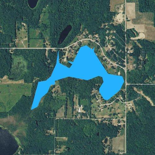 Fly fishing map for Upper Jeptha Lake, Michigan