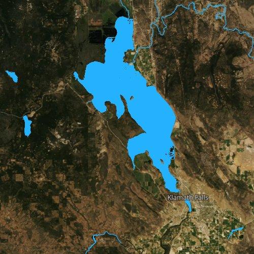 Fly fishing map for Upper Klamath Lake, Oregon