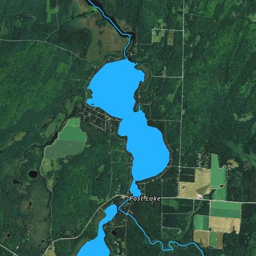 Fly fishing map for Upper Post Lake, Wisconsin