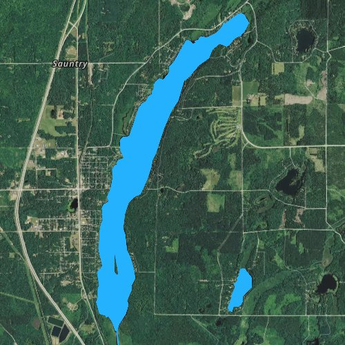 Fly fishing map for Upper Saint Croix Lake, Wisconsin