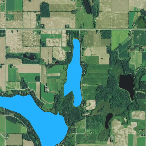 Fly fishing map for Upper Vermillion Lake, Wisconsin