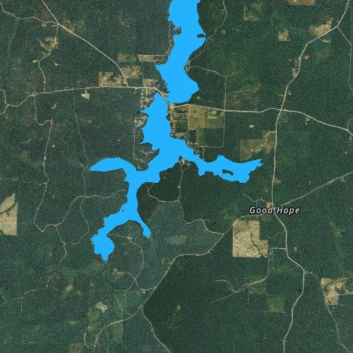 Fly fishing map for Upper White Oak Lake, Arkansas