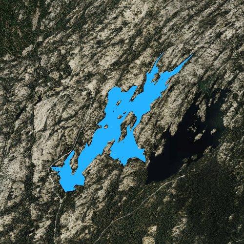 Fly fishing map for Utica Reservoir, California