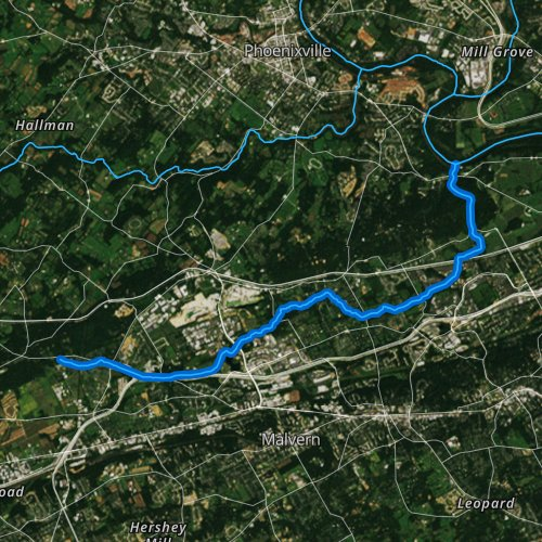 Fly fishing map for Valley Creek, Pennsylvania