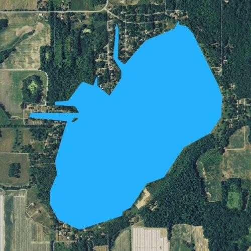 Fly fishing map for Van Auken Lake, Michigan