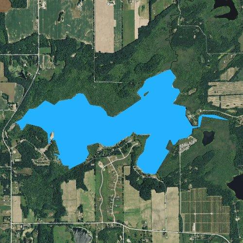 Fly fishing map for Wabasis Lake, Michigan