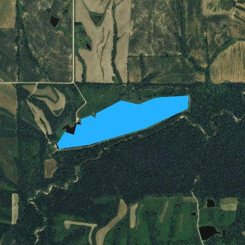 Fly fishing map for Walnut Creek Lake, Iowa