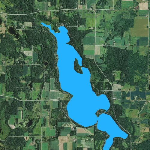 Fly fishing map for Wapogasset Lake, Wisconsin