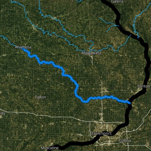 Fly fishing map for Wapsipinicon River: Lower, Iowa